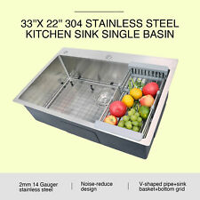 "33"" x 22"" x 9"" Stainless Steel Top Mount Kitchen Sink Single Basin w/ Strainer"