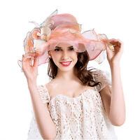Women Girl Derby Hat Church Summer Wide Brim Kentucky Party Wedding Cap One Size