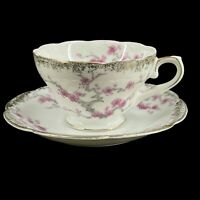 Vintage Shabby & Chic Teacup & Saucer with Pink & White Dogwood Cherry Blossoms