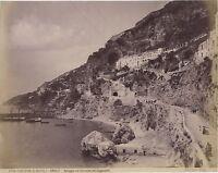 Amalfi Spiaggia Cappuccini Italia Vintage Albumina Ca 1880