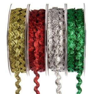 RIC RAC Ribbon Braid Trimming Reel LUREX 20 Metre 6mm Sewing Wedding Decor Craft