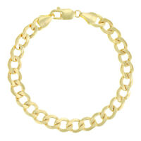 "SEMI SOLID - 9ct Yellow Gold Italian Curb Bracelet - 8.5"" 9mm £570 (RH7_8.5)"