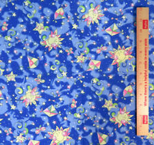 """Kites Clouds Butterflies Smiling Suns and Stars Nursery Print  59"""" wide Blue BTY"""