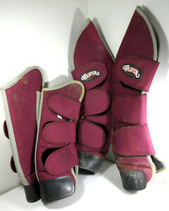 Set of 4 Weaver Horse Shipping Boots Nylon w/ Fleece Liner Maroon Size Small
