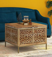 Antqiue Gulmohar Solid Wood Trunk Table Box in Natural & Gold Finish Coffee