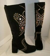 NEW JEFFREY CAMPBELL MODESTY BLACK SUEDE BUTTERFLY EYELET BOOTS US 7