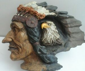 Native American Indian Chieftain with Eagle retro ornament kitsch