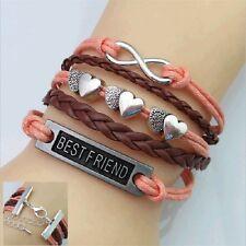 Women Fashion Charm Wrap Leather Heart Friendship Bangle Cuffs Infinity Bracelet