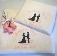 Personalised Towels, Embroidered Hand and Bath Towels, Wedding & Anniversary Set
