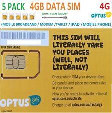 OPTUS 5 PACK of 4GB DATA SIM CARD 4G STANDARD SIZE PREPAID BROADBAND
