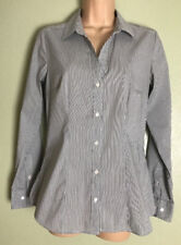 Grey & White Pinstripe Long Sleeve Stretch Fitted Career Blouse Size 8 EU36