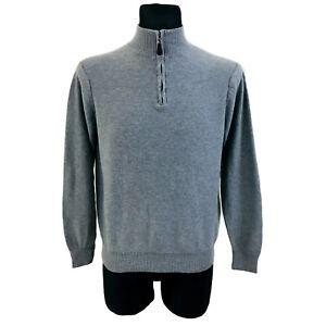 The Savile Row Company Men Grey Zip Neck Cotton Sweater Jumper Size M