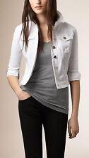 NEW $495 Burberry Women Power-Stretch White Denim Dymchurch Jacket, Size Large