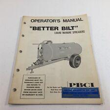 Genuine 1975 Pbci Better Bilt Liquid Manure Spreader Operators Manual Original