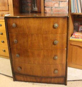 Vintage Walnut Veneer Bow Front Drawers
