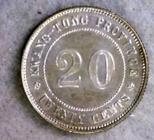 CHINA KWANGTUNG PROVINCE 20 CENTS 1921 AU SILVER COIN (stock# 0404)
