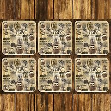 MDF/CORK DRINK COASTERS - SET OF 6 - NED KELLY - SUCH IS LIFE