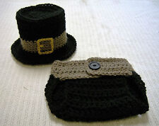 Newborn Baby Pilgrim Hat and Diaper Cover Set--Hand Crochet--Photo Prop