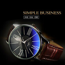 YAZOLE Fashion Roman Number Dial Leather Band Men Women Quartz Wirst Watch Gift