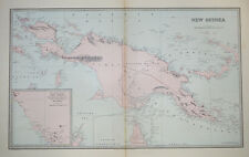 Antique map of New Guinea, with recent discoveries c1888