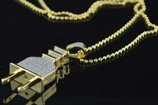 Mens Silver Yellow Gold Finish Hip Hop Small Plug Iced out Pendant with Chain