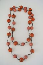 Brown Orange Irregularly Shaped Beads  Fashion Necklace, 62-in long