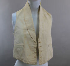 Early 19C Antique mens waistcoat C 1820 white ribbed cotton Xs