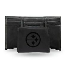 Pittsburgh Steelers Black Laser Engraved Synthetic Leather Trifold Wallet NWT