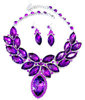Purple Statement Necklace Earring Crystal Rhinestone Bridal Pageant Prom Jewelry