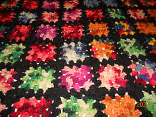 """Handmade 50"""" x 72"""" Granny Squares Afghan Black with all colors """"Lovely"""""""