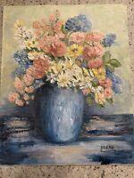 Vintage Mid Century Floral Oil Painting Flowers Vase Still Life 16 X 20 Signed