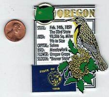 OREGON STATE MONTAGE FACTS MAGNET with state  bird  flower  and flag,