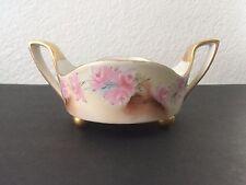 Antique T&V Limoges Hand Painted Handled Footed Bowl Nut Dish Signed Lustreware