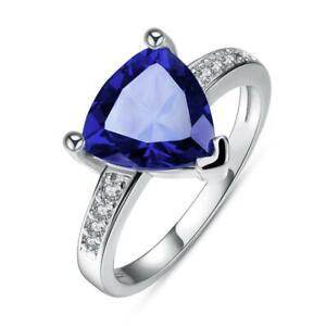 14K White Gold Plating Blue Swarovski Triangle Cut Ring