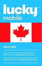 Lucky mobile, Canada, New, SIM card. NANO, MICRO or STD size. For Canada.