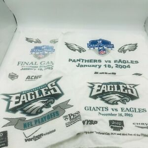 Seven NFL Hand Towels Giants Eagles 03 Panthers 04 Playoffs 03 Rally SGA