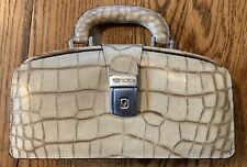 Bosca Embossed Leather Doctor Bag Handbag Purse, With Key