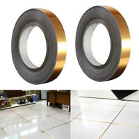 2Pcs Wall Floor Tiles Gap Line Finishing Decor Copper PVC Foil Stickers Tape