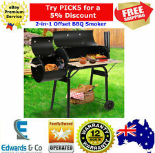 Portable Outdoor Charcoal BBQ Grill Smoker Chamber Offset Side Firebox w/ Bench
