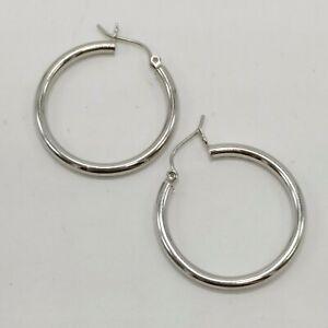14K White Gold Hoop Earrings - 1.25 Inch - 2 Grams