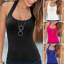 Womens Sexy Halter Neck Vest Tops Summer Casual Slim SleevelessTank Top T-Shirt