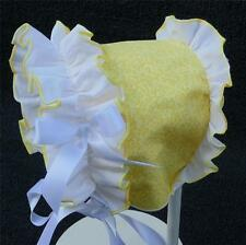 New Handmade Yellow Floral Print and Ruffle with Satin Ribbon Baby Summer Bonnet