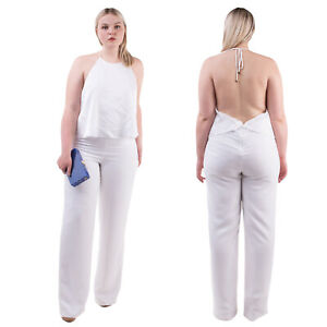 MARCIANO GUESS Crepe Wedding Jumpsuit Size 46 / XL White Draped Satin Open Back