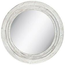 "White Distressed Round Wood Wall Mirror 34"" D XXXL Farmhouse Cabin Home Decor."