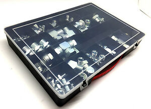 Hydraulic BSP Adaptor Kit 78 Pce 1/4 to 1/2 Male Swivel Female Tee Elbow Plug
