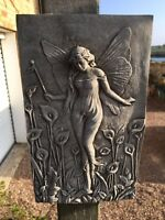Fairy stone wall plaque,garden concrete stone wall ornament,mythical faries lily