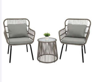 3-Piece Patio Wicker Conversation Bistro Set with 2 Chairs & Glass Top Side Tabl