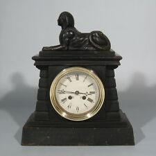 "Antique French Cast Iron Empire Early 19th cent. Clock, ""Retour d'Egypte� Sphinx"