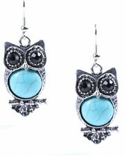 Lovely animal owl bird blue turquoise bead dangle Tibet silver dangle earrings