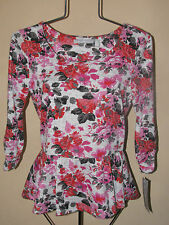 New Womens Sz L NY Collection 3/4 Sleeve Floral Top Retail $44